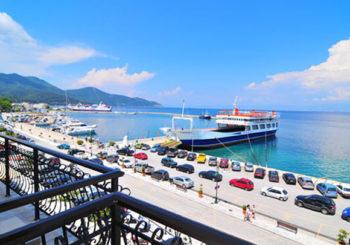 Онлайн веб камера Греция остров Тасос порт Лименас