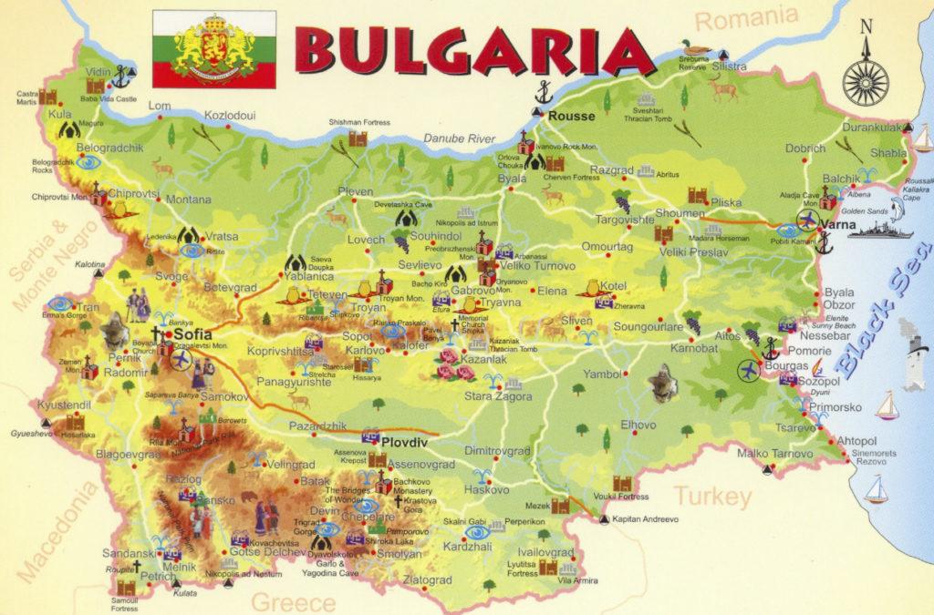 туристическая карта Болгарии